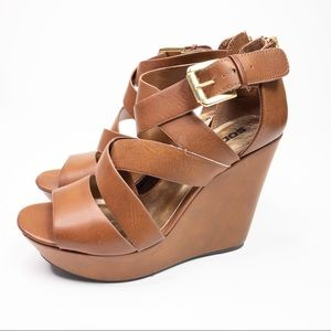 Soda Faux Leather Brown Wedge Sandals